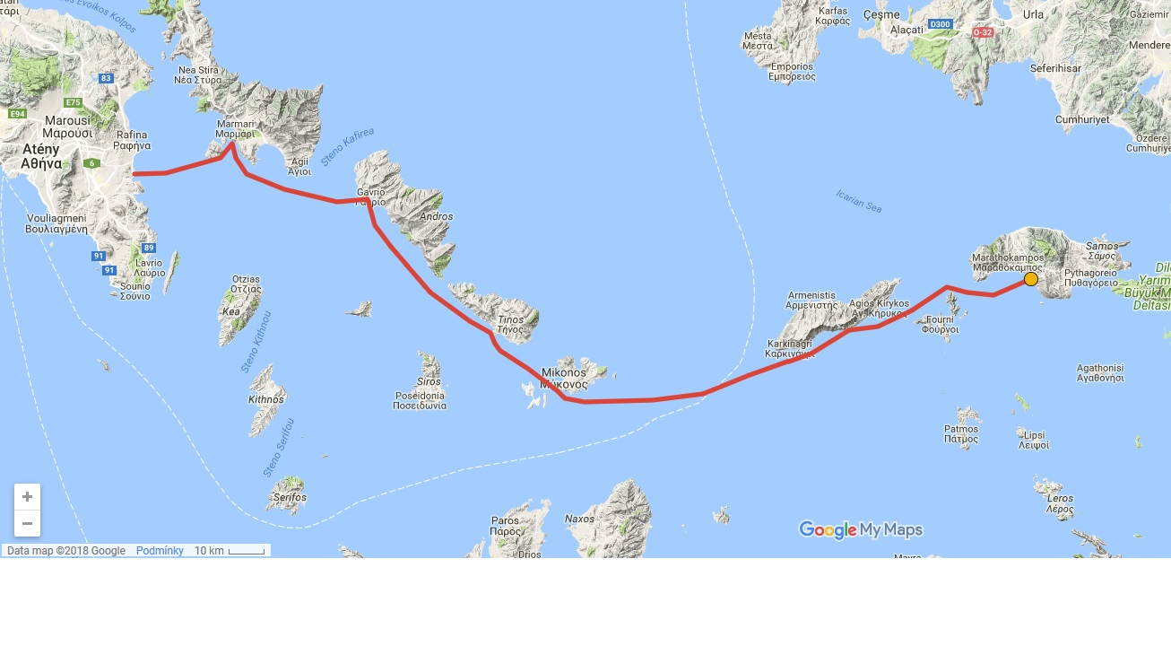 The Route of Monoxylon I Expedition